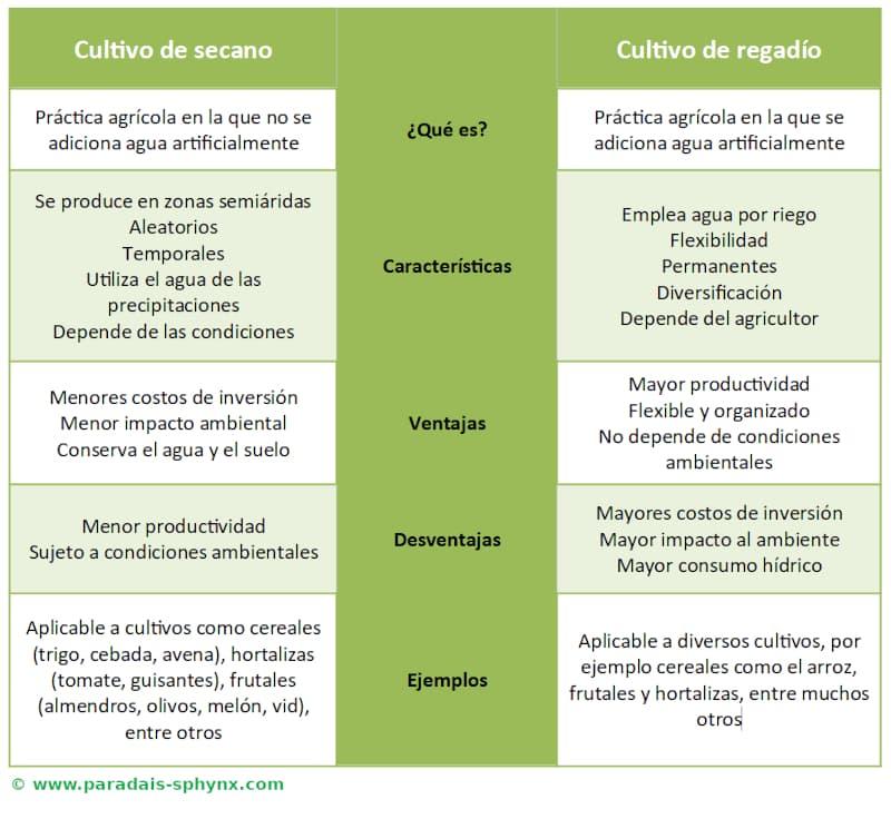 Cultivos de secano y regadío, resumen con cuadro explicativo